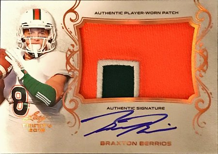 2018 Leaf Trinity Patch Autographs Braxton Berrios