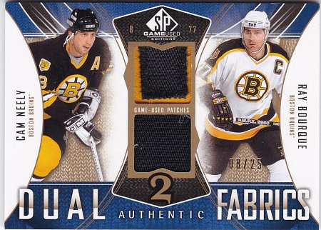 2009-10 SP Game Used Authentic Fabrics Dual Patches #AF2NB Cam Neely/Ray Bourque Serial #'d 08/25