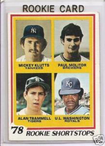 1978 Topps Alan Trammell Molitor Rooke Card