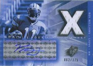 2004 SPx Roy Williams Jersey Auto Lions